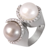 Anillo de la Colección Nunet en oro blanco con diamantes talla brillante, doble perla Australiana y Tahití,