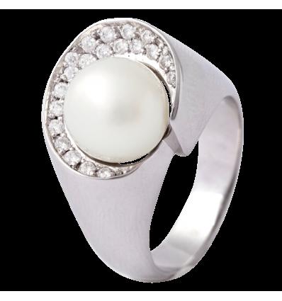 Anillo en oro blanco con diamantes blancos talla brillante y perla Australiana