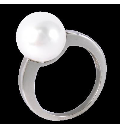 Anillo en oro blanco con perla Australiana central color blanca