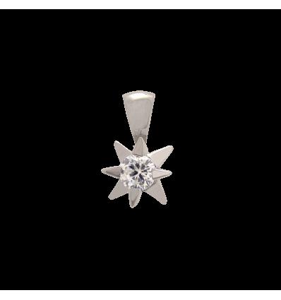 Colgante en oro blanco 4 garras estrella con diamante talla brillante