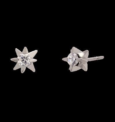 Pendientes en oro blanco 4 garras estrella con diamante talla brillante