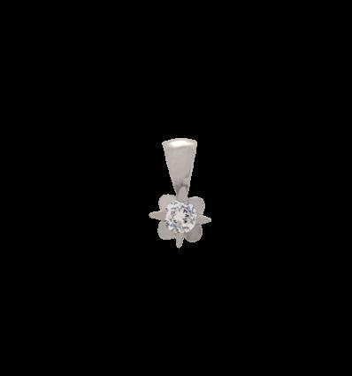 Colgante en oro blanco 4 garras oval con diamante talla brillante