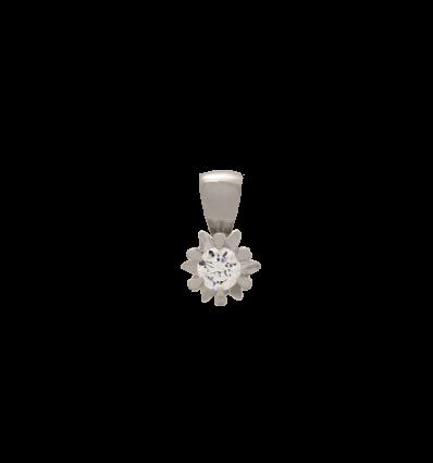Colgante en oro blanco 6 garras estrella con diamante talla brillante
