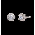 Pendientes en oro blanco 6 garras oval con diamante talla brillante
