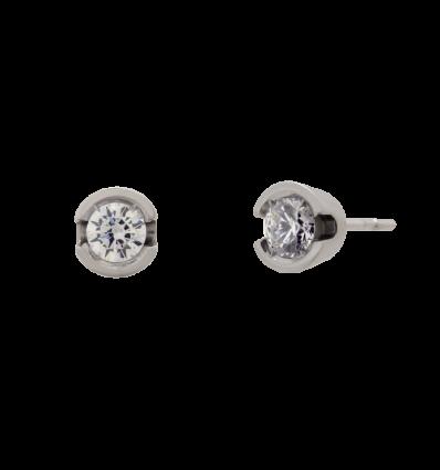 Pendientes en oro blanco modelo chatón abierto con diamante talla brillante