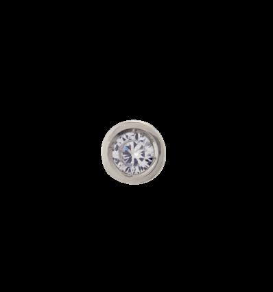 Colgante en oro blanco modelo chatón alto con diamante talla brillante