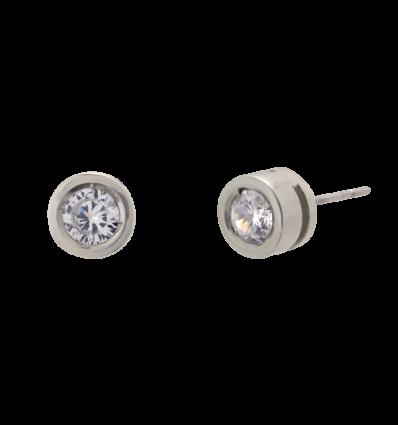 Pendientes en oro blanco modelo chatón alto con diamante talla brillante