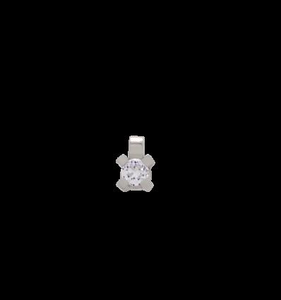 Colgante en oro blanco con diamante talla brillante montado en 4 garras cuadradas