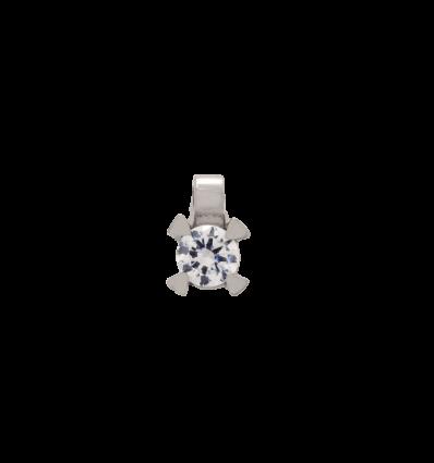 Colgante en oro blanco con diamante talla brillante montado en 4 garras triángulo