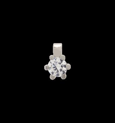 Colgante en oro blanco con diamante talla brillante montado en 6 garras