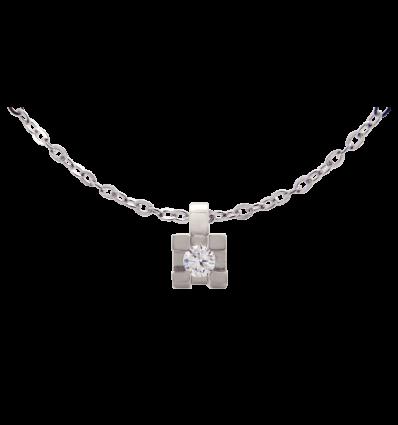 Colgante en oro blanco con diamante talla brillante montado en 4 garras