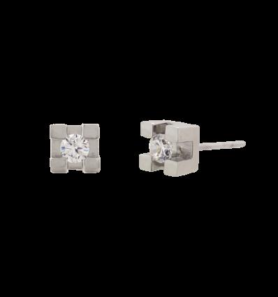 Pendientes en oro blanco con diamante talla brillante montado en 4 garras