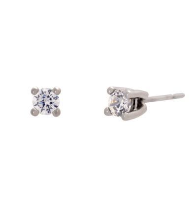 Pendientes en oro blanco con diamante talla brillante montado en 4 garras de hilo