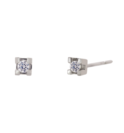 Pendientes en oro blanco con diamante talla brillante montado en 4 garras planas