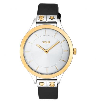 Reloj Tous 900350165 Lord de acero IP rosado con correa de piel negra