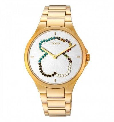 Reloj TOUS 900350330 Reloj Motion Straight oso de acero IP dorado con cristales Mujer