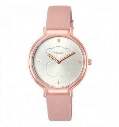 Reloj TOUS 900350360 Reloj Real Bear de acero IP rosado con correa de piel nude Mujer
