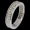 Alianza completa doble en oro blanco con diamantes blancos talla brillante, ancho del brazo 4,35 mm